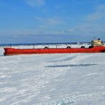 Bay of Sept-Iles in medium First Year Ice (70-120cm) vessel anchored in ice (no Anchors down)